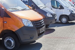 number of new minibuses and vans outside