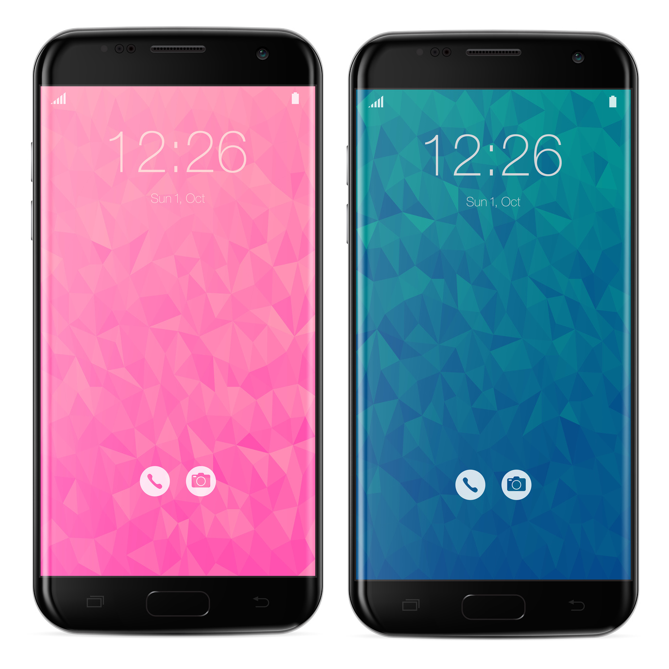 Smartphone black with polygonal pink and blue locked home screen