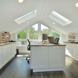 contemporary-home-office-with-gabled-roof-and-skylights